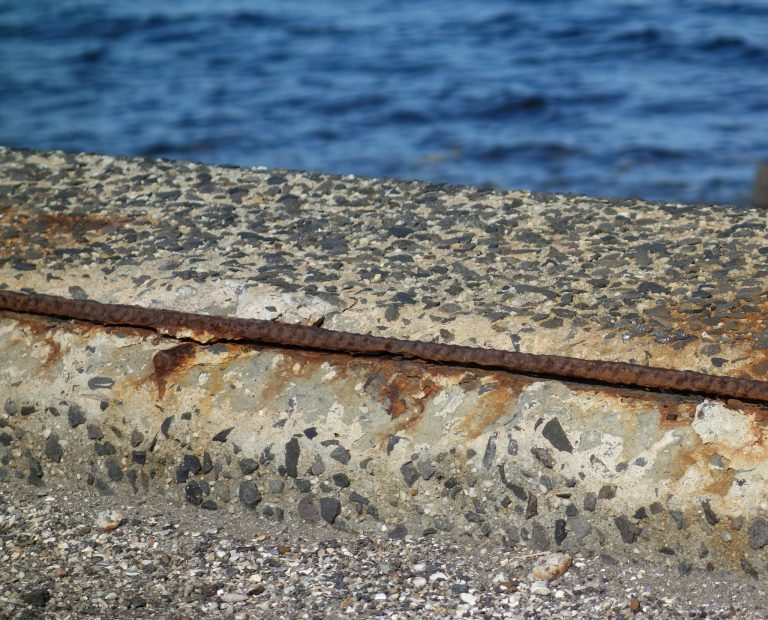 Seawall corrosion damage